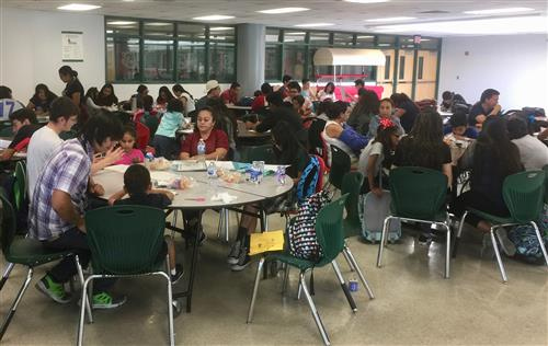 Parents and students at Lion Cubs Tutoring in the Alhambra High School Cafeteria
